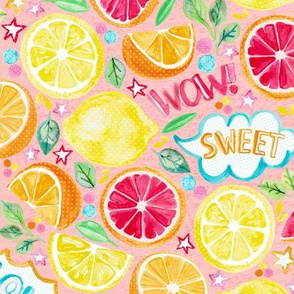 Sweet and Sour - Citrus Fruit on Blush Pink