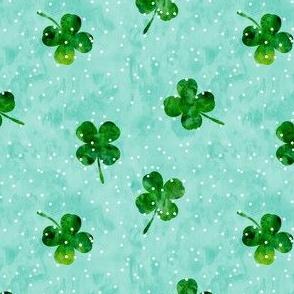 four leaf clovers - mint scatter dot - LAD19