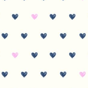 marker hearts - blue on cream - LAD19