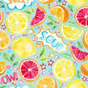 Sweet and Sour - Citrus Fruit on Soft Turquoise