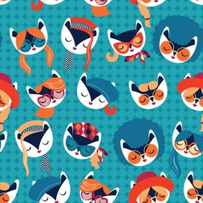 Small scale // Meowsome 70s cat faces // teal background white hippie cats with cute red pink teal and orange outfits