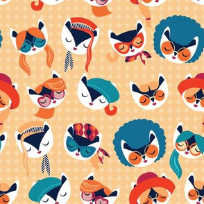 Small scale // Meowsome 70s cat faces // peach yellow background white hippie cats with cute red pink teal and orange outfits