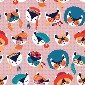 Small scale // Meowsome 70s cat faces // blush pink background white hippie cats with cute red pink teal and orange outfits