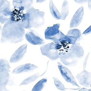 Mid summer bloom • large scale watercolor indigo florals for modern home decor