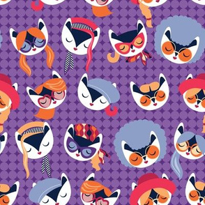 Small scale // Meowsome 70s cat faces // amethyst purple background white hippie cats with cute red pink violet and orange outfits