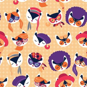 Small scale // Meowsome 70s cat faces // peach yellow background white hippie cats with cute red pink amethyst purple and orange outfits