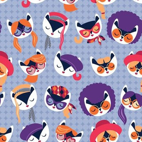 Small scale // Meowsome 70s cat faces // pale blue background white hippie cats with cute red pink amethyst purple and orange outfits