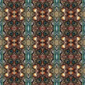 peacock tail feather golden glitter ellipse kaleidoscope medium