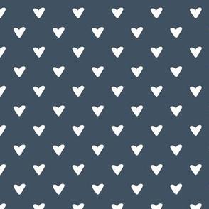 Little Hearts - white on dark denim blue
