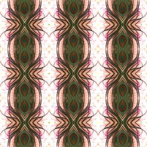peacock tail feather pink peony ellipse kaleidoscope medium