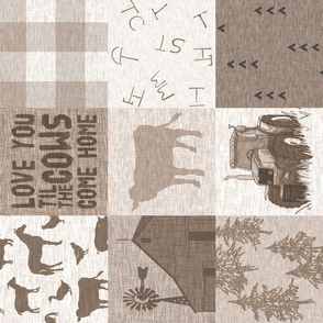 Til the cows come home - rustic farm/cow quilt - soft brown and beige