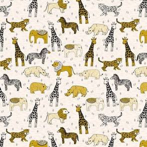 SMALL - jungle // safari kids animals baby kids safari mustard kids