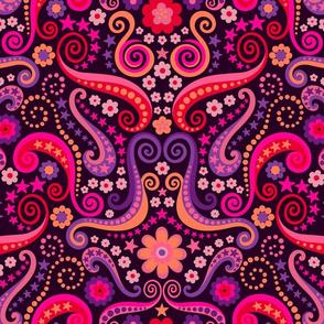 Psychedelic 70s garnet ruby amethyst