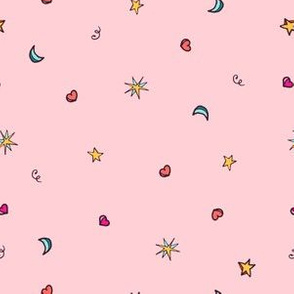 Hand drawn pink hearts and stars  cute pattern design