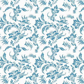 Floral Scroll- Ivory and Navy