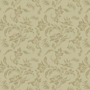 Floral Scroll- Tan