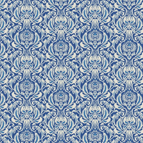 Decorative Damask- Blue and Ivory