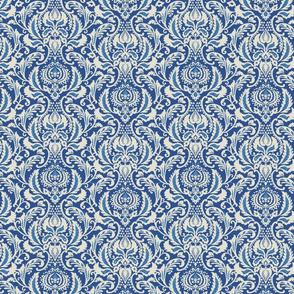Decorative Damask- Blue and Ivory