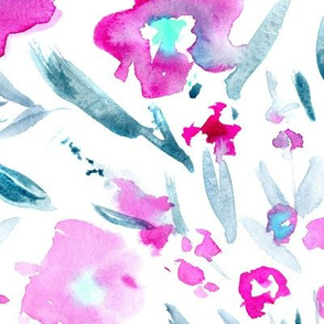 Magic meadow • larger scale pink watercolor florals
