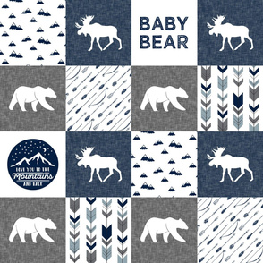 Baby bear - love you to the mountains and back - navy and grey - moose, bear  patchwork  C19BS