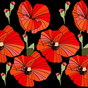 Pretty Poppies - Black