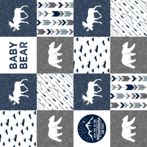 Baby bear - love you to the mountains and back - navy and grey - moose, bear  patchwork (90) C19BS