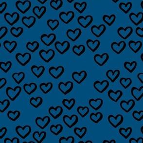 Little love dream minimal hearts ink sketch raw brush valentine design classic blue winter