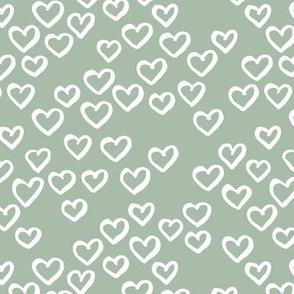 Little love dream minimal hearts ink sketch raw brush valentine design sage green