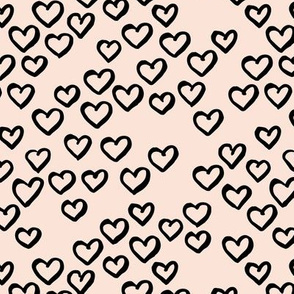 Little love dream minimal hearts ink sketch raw brush valentine design off white cream black