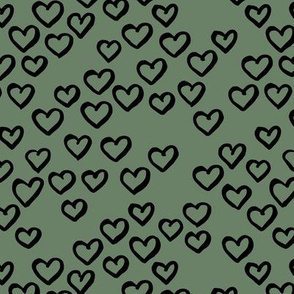 Little love dream minimal hearts ink sketch raw brush valentine design sage green black
