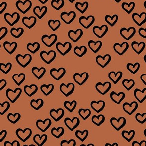 Little love dream minimal hearts ink sketch raw brush valentine design rust copper brown black