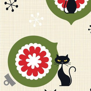 Xmas decorations and Cats -retro