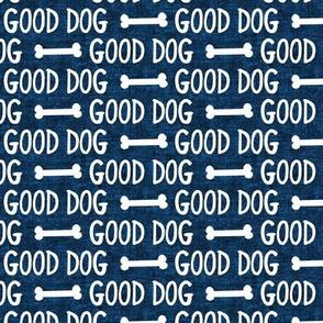 good dog - dark blue - dog bone - LAD19