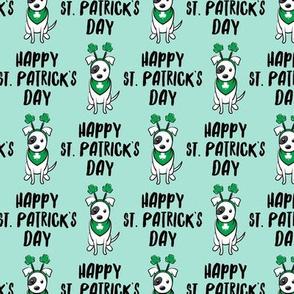 Happy St. Patrick's Day - dog w/ shamrock headband - mint - LAD19
