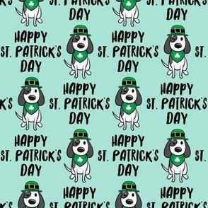 Happy St. Patrick's Day - dog w/ hat - mint - LAD19