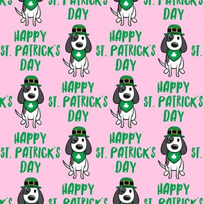 Happy St. Patrick's Day - dog w/ hat - green on pink - LAD19