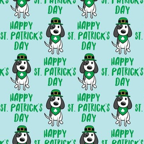 Happy St. Patrick's Day - dog w/ hat - green on blue - LAD19