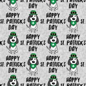Happy St. Patrick's Day - dog w/ hat - grey - LAD19