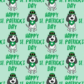 Happy St. Patrick's Day - dog w/ hat - green on mint - LAD19