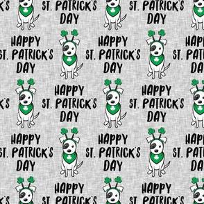 Happy St. Patrick's Day - dog w/ shamrock headband - grey - LAD19