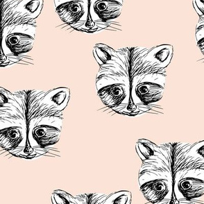 Little raccoon friends ink drawing woodland animal print pale peach