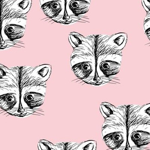 Little raccoon friends ink drawing woodland animal print soft pink