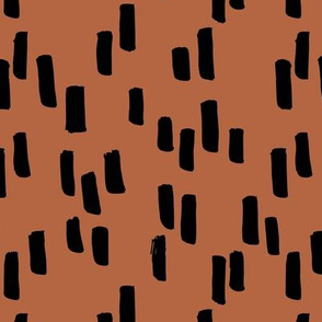 Little stripes and dashes ink brush strokes minimal style Scandinavian abstract design copper rust brown
