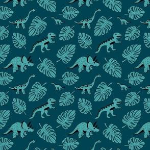 Cool jungle dinosaurs Scandinavian style vintage illustration kids history print dark blue night SMALL