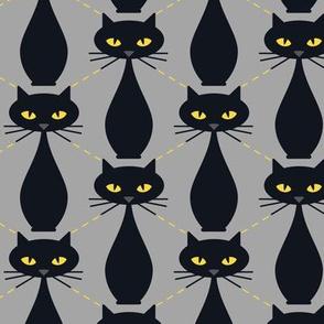 Cats Argyle Black/Yellow on Gray