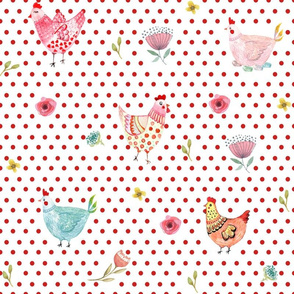 "12"" Wallpaper Polka Girls Red Dots"