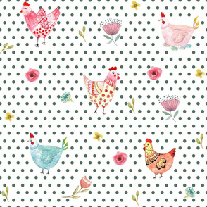 "12"" Wallpaper Polka Girls Dark Green Dots"