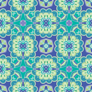 Blue green square kaleidoscope