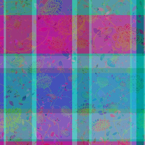 Soft Flowers on Turquoise Purple Plaid