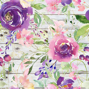 Bright Purple Watercolor Floral on a Wood background